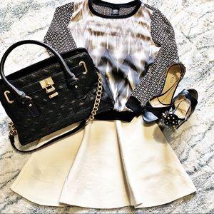 Bobeau Satin patchwork trendy long sleeve blouse